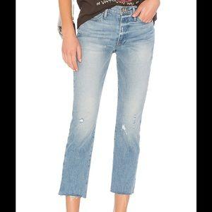 Frame Straight Crop Slit Rivet Jeans